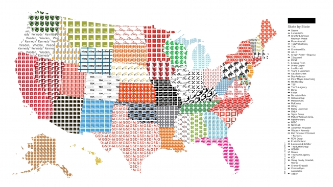 Map Of The US Shows Top Ad Agency In Each State LetsGrow - Us map pi